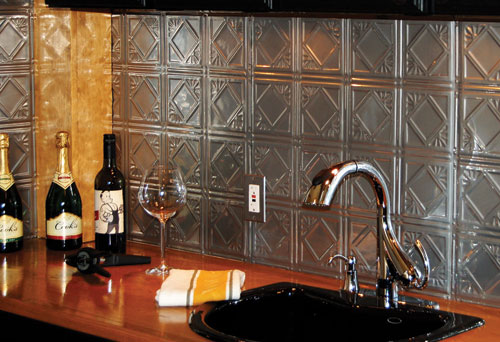 A tin backsplash is the perfect solution for your kitchen home information - Silver tin backsplash tiles ...